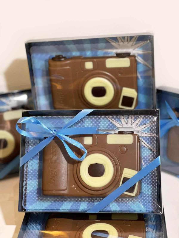 Coffret appareil photo en chocolat